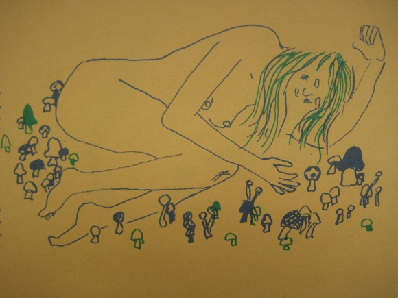 girl with mushrooms